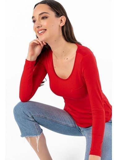 Tiffany&Tomato U Yaka Cepli T-Shirt Kırmızı